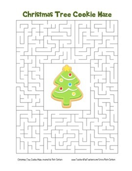 """""""Christmas Tree Cookie"""" Maze! Holiday FUN! (Color and Black Line)"""