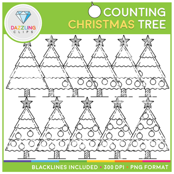 Christmas Tree Counting Clip Art