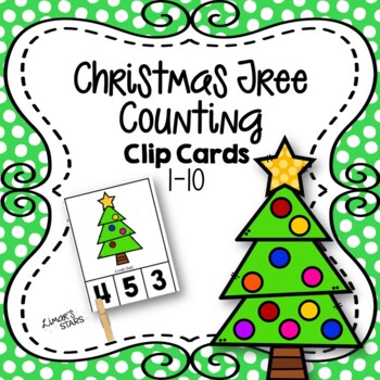 Christmas Tree Counting Clip Cards 1-10