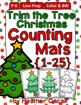 Christmas Tree Counting Hands-On Math Mats 1-25 Low Prep (