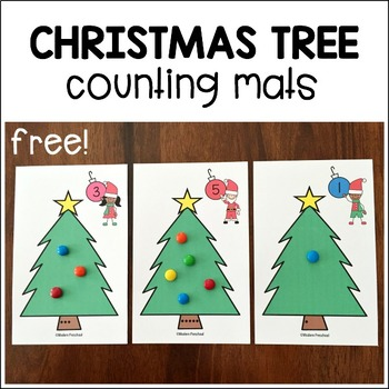 Christmas Tree Counting Mats for Preschool, Pre-K