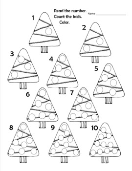 Christmas Tree Counting Numbers 1-10