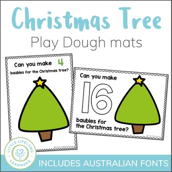 Christmas Tree Counting Playdough Mats - Numbers 1 to 20
