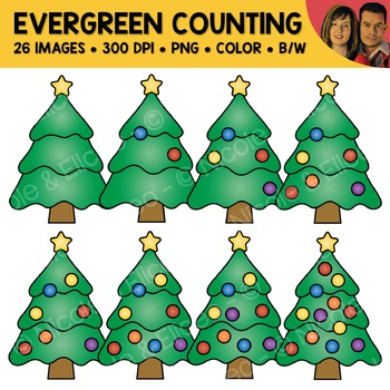 Christmas Tree Counting Scene Clipart