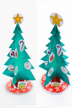 Christmas Tree Craft 3D Template Cut and Paste
