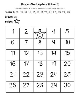 Christmas Tree December Early Math (Numbers 1-30) Number Chart Mystery Picture