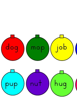 Christmas Tree Decorating Activity with Letters and Words