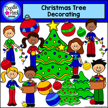 Christmas Decorating Clip Art.Christmas Tree Decorating Clip Art Doodle Patch Designs