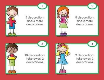 Christmas Tree Decorating Fun! Play dough mat and mathematics task cards