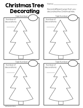 Christmas Tree Decorating Fun! Play dough mat and mathematics task cards