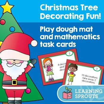 Christmas Tree Decorating Fun! Play dough mat and mathemat