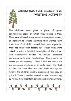 christmas tree descriptive writing craftivity by deeannmoran tpt