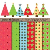 Christmas Tree Digital Clip Art & Paper Pack for invites, cards & scrap-booking