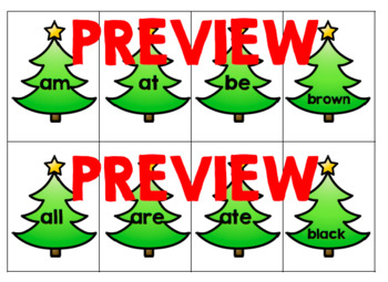 Christmas Tree Dolch Pre-Primer Sight Word Flashcards
