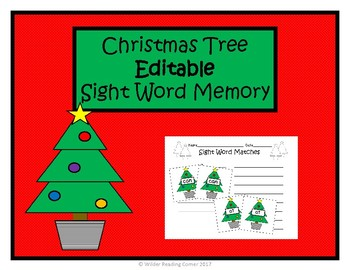 Christmas Tree  EDITABLE Sight Word Memory- December Literacy Center - EASY PREP