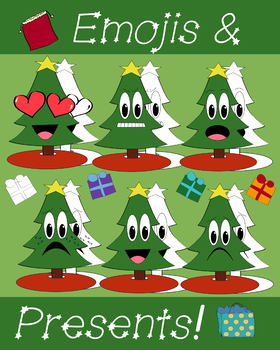 Christmas Tree Emoji.Christmas Tree Emoji And Present Clipart Set