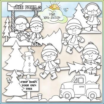 Christmas Tree Farm Clip Art - Christmas Clip Art - CU Clip Art & B&W