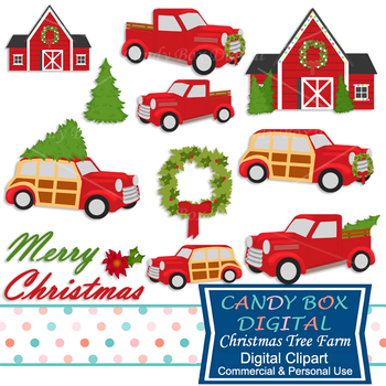 Christmas Tree Farm, Woody Car and Truck Clip Art