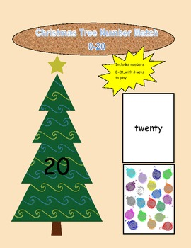 Christmas Tree File Folder Game Numbers 0-20