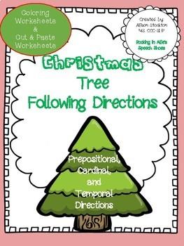 Christmas Tree Following Directions (Prepositional, Cardinal, Temporal)