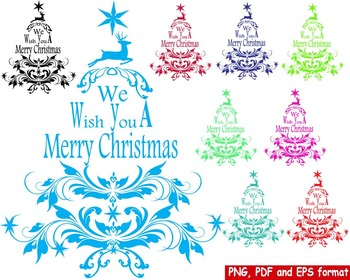 Christmas Tree Happy New Year Clip art deers retro ornament decoration red -164-