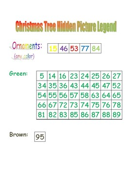 Christmas Tree Hidden Picture (Hundreds Board Activity)