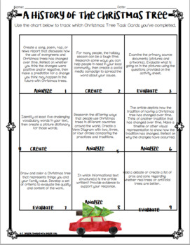 A Christmas Tree History-- Leveled Reading Comprehension Activity & Task Cards