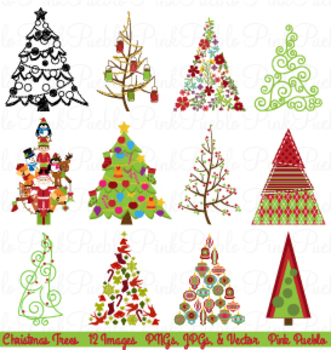 Christmas Tree Holiday Clipart and Vectors