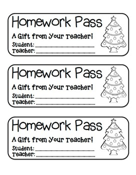 """Christmas Tree"" Homework Pass –Holiday FUN! (black line version)"