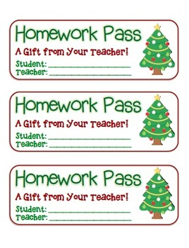 """Christmas Tree"" Homework Pass –Holiday FUN! (full color version)"