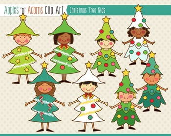 Christmas Tree Kids Clip Art - color and outlines