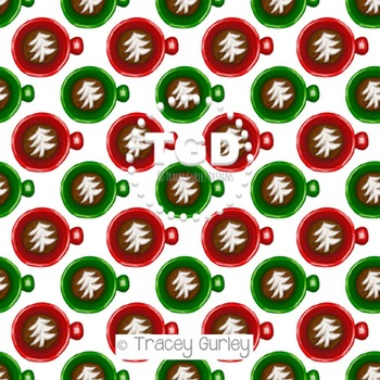 Christmas Tree Latte digital paper Printable Tracey Gurley Designs