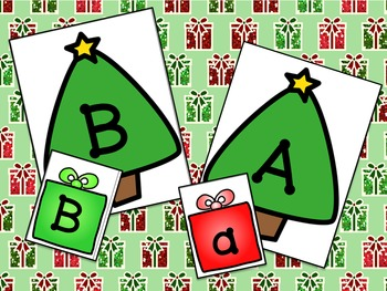 Christmas Tree Letter Match Literacy Center Activity for Preschool