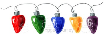 Christmas Tree Lights clip art, Printable Tracey Gurley Designs