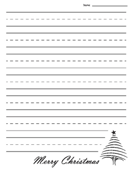 Christmas Tree Lined Paper - Primary