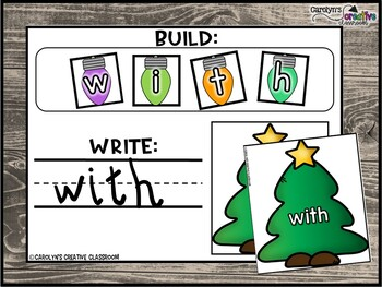 Christmas Tree Literacy Center | Building Fry and Dolch Sight Words | December