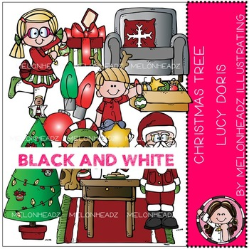 Christmas Tree Lucy Doris clip art - BLACK AND WHITE- by Melonheadz