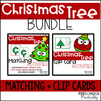Christmas Tree Match and Clip Card Bundle for Toddlers, Preschool, and PreK