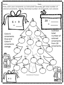 "Christmas Tree Math ""Addition and Subtraction"" (Worksheets)"