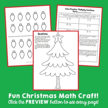 Christmas Tree Math Craft: Multiplying Fractions
