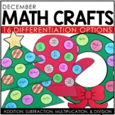 December Math Crafts (differentiated): Christmas Tree, Wreath, Dreidel, & Mitten