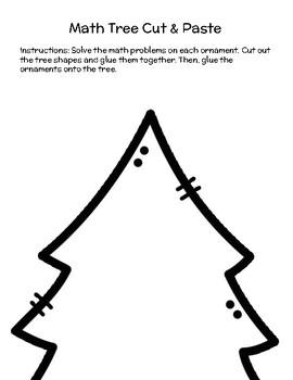 Christmas Tree Math Cut & Paste- 2nd Grade Math