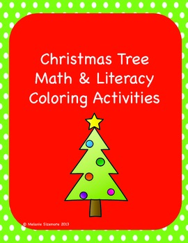 Christmas Tree Math and Literacy Coloring Activities
