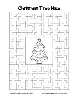 """Christmas Tree"" Maze! Holiday FUN! (Color and Black Line)"