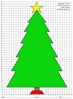 Christmas Tree, Coordinate Drawing, Coordinate Graphing, M