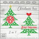 Christmas Tree Monogram SVG - Xmas tree Svg - Christmas Tree, Christmas SVG