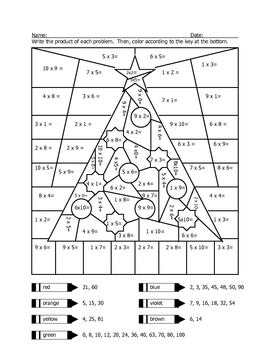 christmas tree multiplication coloring sheet by wisteacher tpt. Black Bedroom Furniture Sets. Home Design Ideas