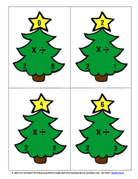 Christmas Multiplication and Division Fact Family Flashcards
