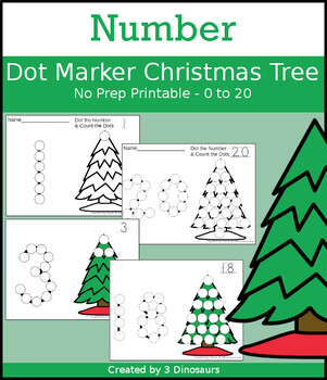 Christmas Tree Number Dot Marker & Counting