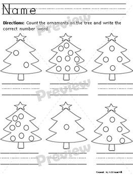 Christmas Tree Number Fun- Representing numbers to ten